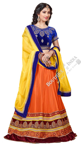 Lehenga - Attractive Heavy Work Designer Lehenga Collection - Velvet Blue, Orange And Brown Most Beautiful 3 Piece Semi Stitched Lehenga Collection For Party / Wedding / Special Occasions - Semi Stitched, Blouse - Ready to Stitch - Boutique4India Inc.