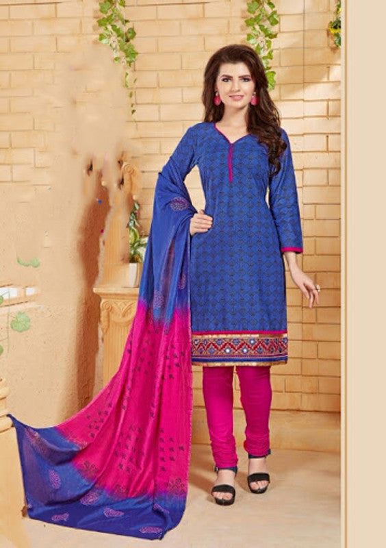 Elegant Embroidery Work Salwar Collection - Blue And Pink  Ready To Stitch Material - Blue And Pink Simple And Beautiful Embroidery Work And Unique Color Combination Salwar Suits / Party / Festivals / Special Occasions /Casual - Ready to Stitch - Boutique4India Inc.