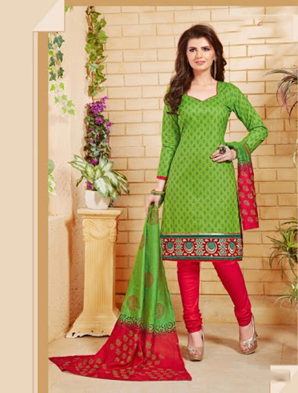 Elegant Embroidery Work Salwar Collection - Green And Red  Ready To Stitch Material - Green And Red Simple And Beautiful Embroidery Work And Unique Color Combination Salwar Suits / Party / Festivals / Special Occasions /Casual - Ready to Stitch - Boutique4India Inc.