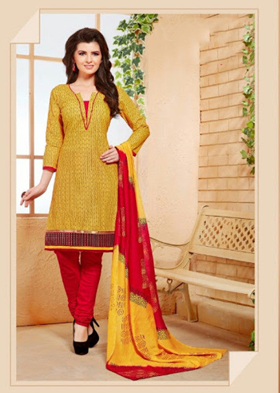 Elegant Embroidery Work Salwar Collection - Yellow And Red  Ready To Stitch Material - Yellow And Red Simple And Beautiful Embroidery Work And Unique Color Combination Salwar Suits / Party / Festivals / Special Occasions /Casual - Ready to Stitch - Boutique4India Inc.
