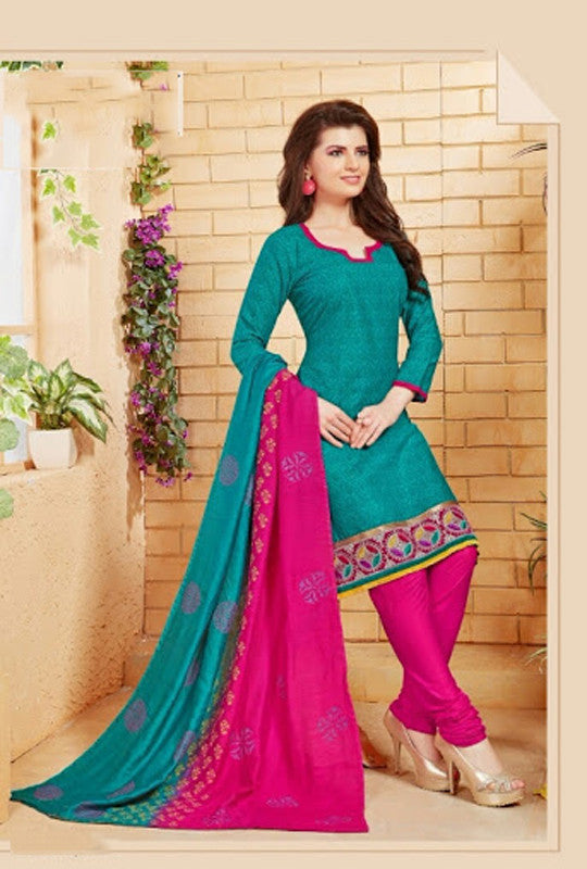 Elegant Embroidery Work Salwar Collection - Turquoise And Pink  Ready To Stitch Material - Turquoise And Pink Simple And Beautiful Embroidery Work And Unique Color Combination Salwar Suits / Party / Festivals / Special Occasions /Casual - Ready to Stitch - Boutique4India Inc.