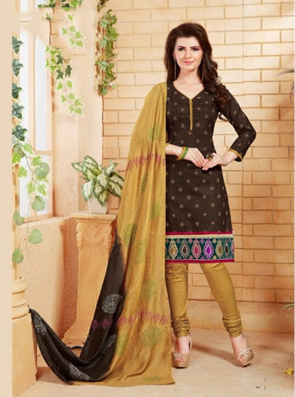 Elegant Embroidery Work Salwar Collection - Coffee Brown And Golden  Ready To Stitch Material - Coffee Brown And Golden Simple And Beautiful Embroidery Work And Unique Color Combination Salwar Suits / Party / Festivals / Special Occasions /Casual - Boutique4India Inc.