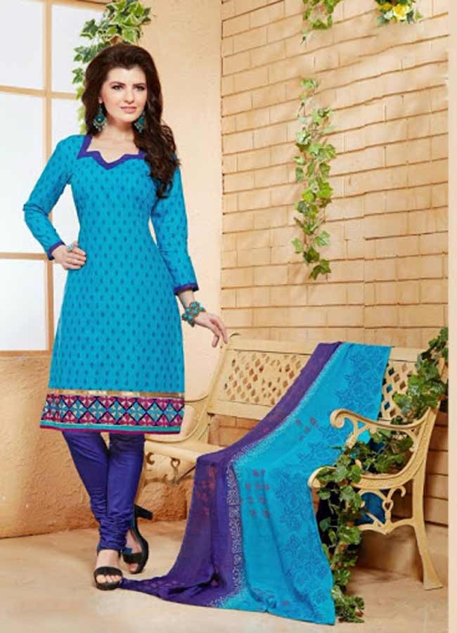 Elegant Embroidery Work Salwar Collection - Blue Family  Ready To Stitch Material - Blue Family Simple And Beautiful Embroidery Work And Unique Color Combination Salwar Suits / Party / Festivals / Special Occasions /Casual - Ready to Stitch - Boutique4India Inc.