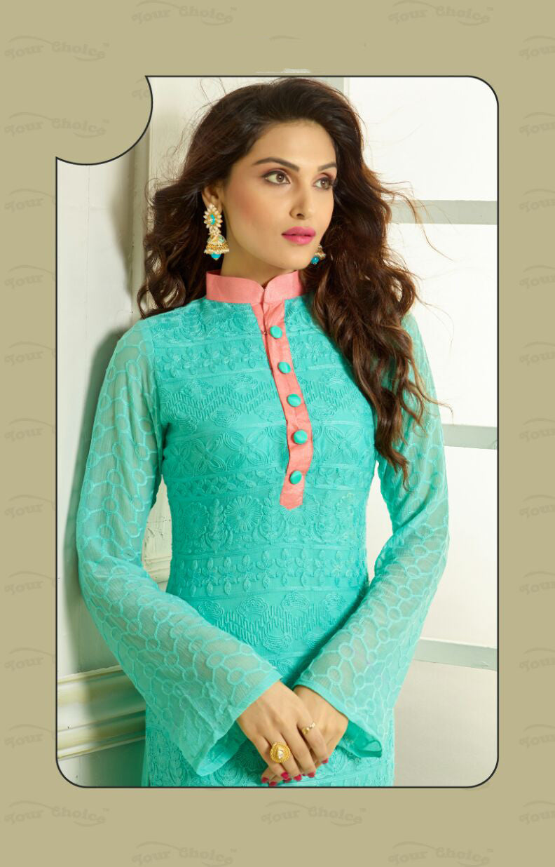 Straight Cut Long Salwar Suits-Breezy Blue And Peach – Boutique4India
