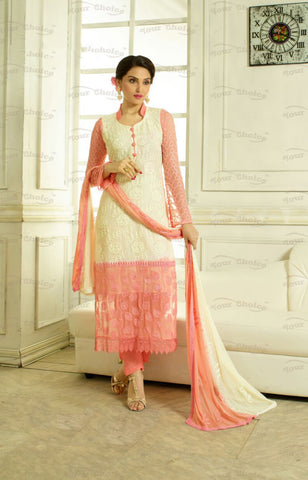 Designer Embroidery Long Salwar Suit Collection - Ready To Stitch Material / Peach And Ivory Heavy Lace And Embroidery Work Straight Cut Long Salwar Suits For Party / Wedding / Special Occasions - Ready to Stitch - Boutique4India Inc.