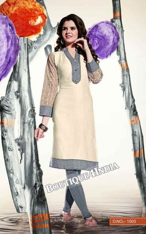 Off white Color Ravishing Rayon Fabric Kurti