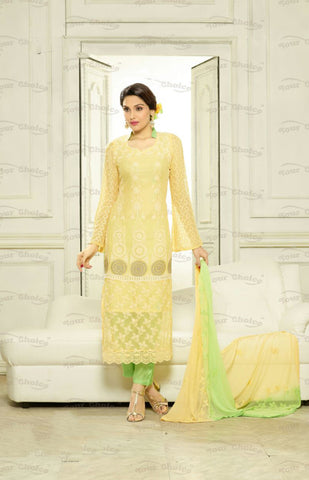 Designer Embroidery Long Salwar Suit Collection - Ready To Stitch Material / Lemon Yellow And Green Heavy Lace And Embroidery Work Straight Cut Long Salwar Suits For Party / Wedding / Special Occasions - Ready to Stitch - Boutique4India Inc.