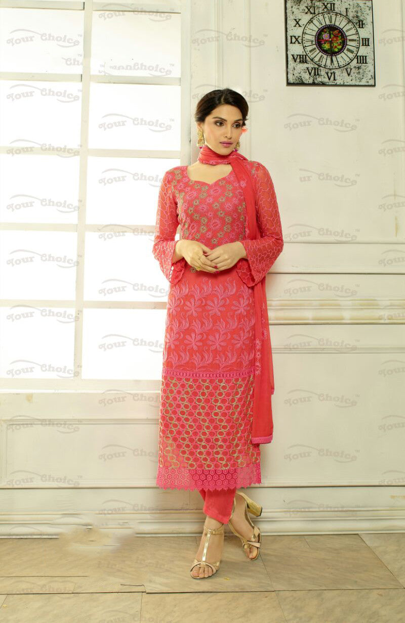 Designer Embroidery Long Salwar Suit Collection - Ready To Stitch Material / Pink And Multi Color Heavy Lace And Embroidery Work Straight Cut Long Salwar Suits For Party / Wedding / Special Occasion - Ready to Stitch - Boutique4India Inc.