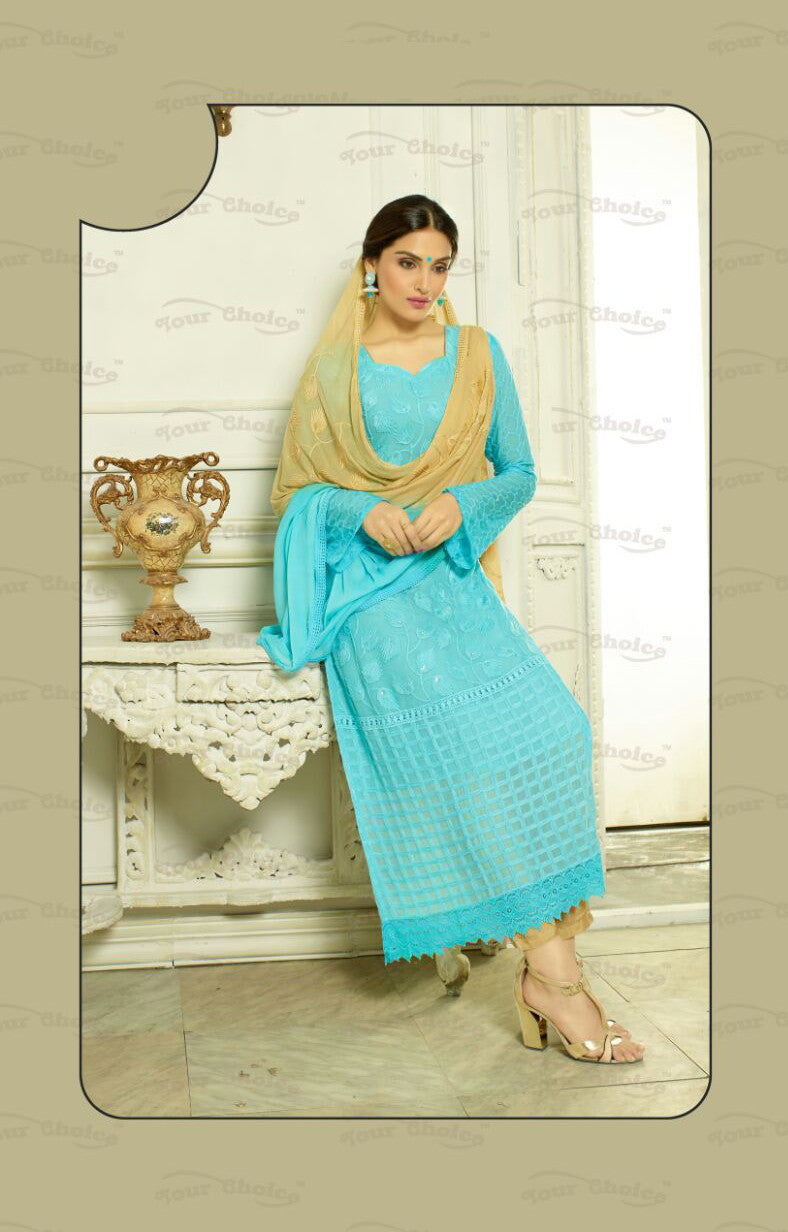 Straight Cut Long Salwar Suits-Blue And Golden Color – Boutique4India