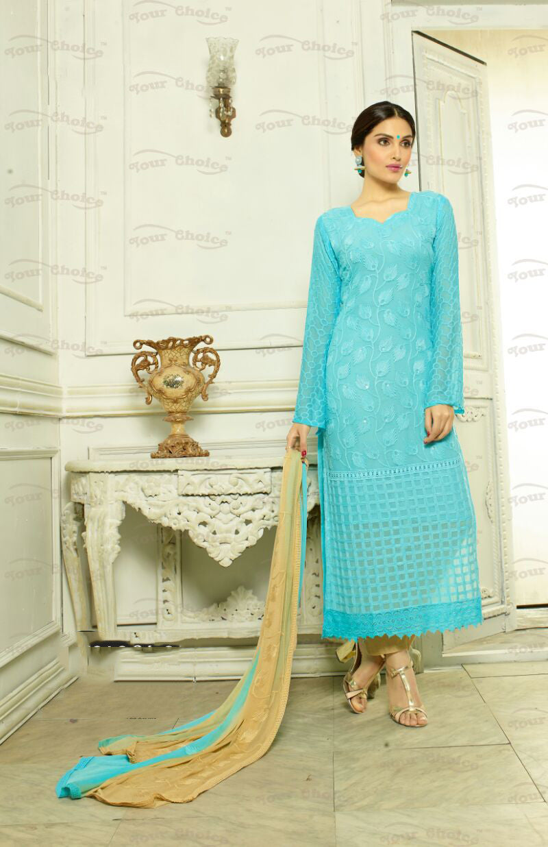 Designer Embroidery Long Salwar Suit Collection - Ready To Stitch Material / Blue And Golden Heavy Lace And Embroidery Work Straight Cut Long Salwar Suits For Party / Wedding / Special Occasions - Ready to Stitch - Boutique4India Inc.