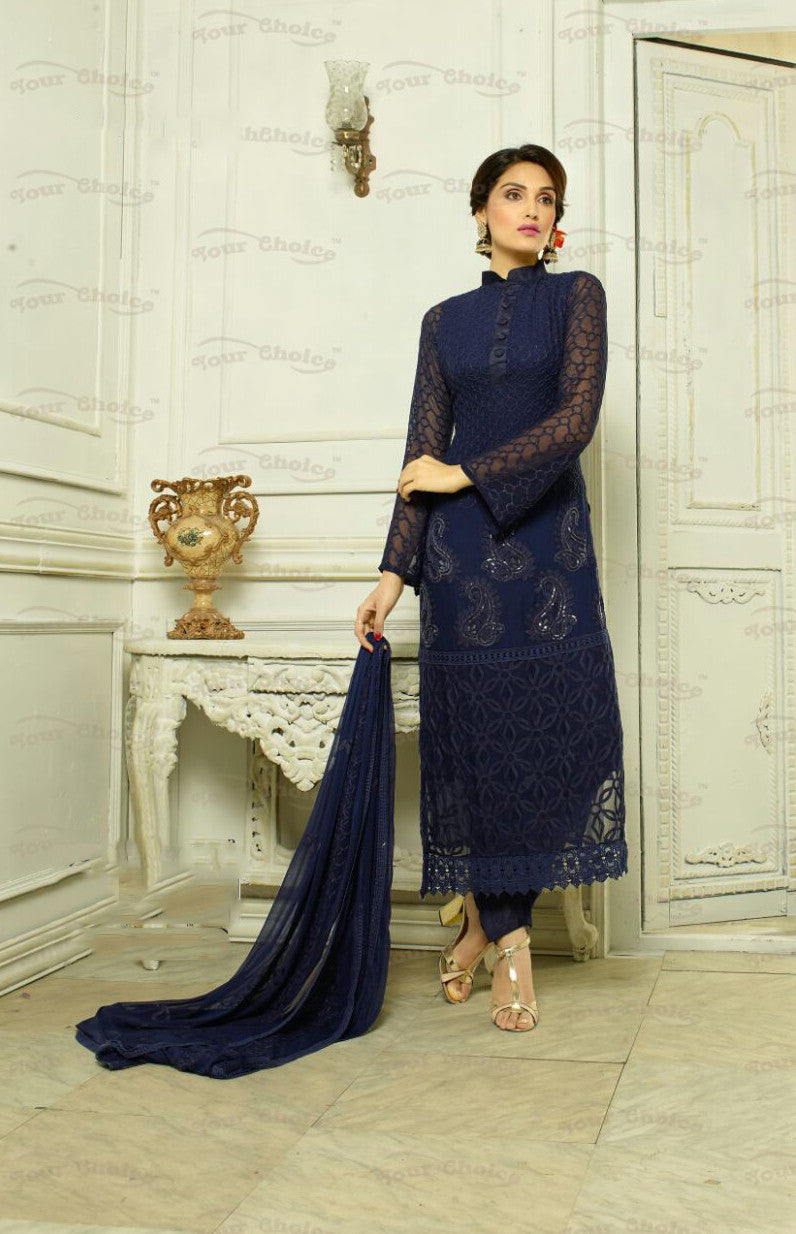 Designer Embroidery Long Salwar Suit Collection - Ready To Stitch Material / Royal Blue Heavy Lace And Embroidery Work Straight Cut Long Salwar Suits For Party / Wedding / Special Occasions - Ready to Stitch - Boutique4India Inc.