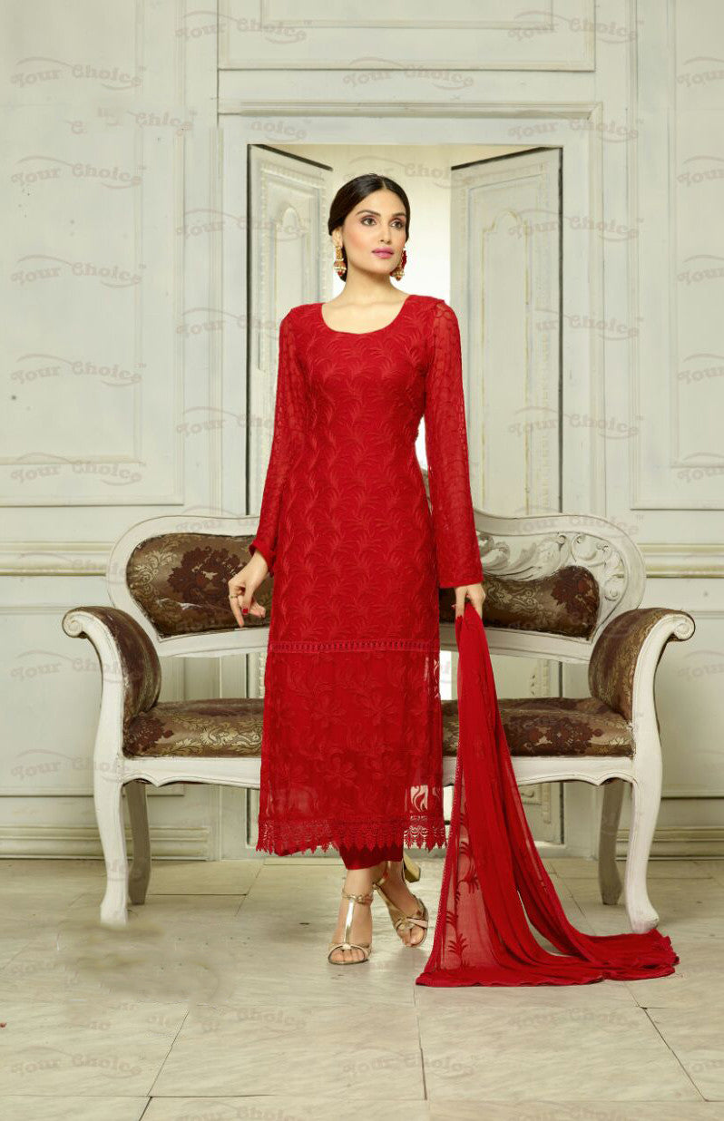 Designer Embroidery Long Salwar Suit Collection - Ready To Stitch Material / Ruby Red Heavy Lace And Embroidery Work Straight Cut Long Salwar Suits For Party / Wedding / Special Occasions - Ready to Stitch - Boutique4India Inc.