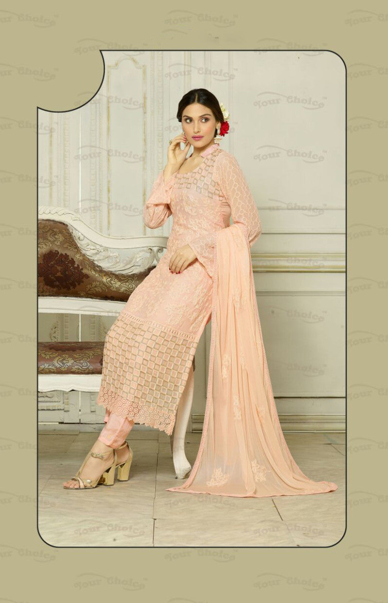 Designer Embroidery Long Salwar Suit Collection - Ready To Stitch Material / Peach Heavy Lace And Embroidery Work Straight Cut Long Salwar Suits For Party / Wedding / Special Occasions - Ready to Stitch - Boutique4India Inc.