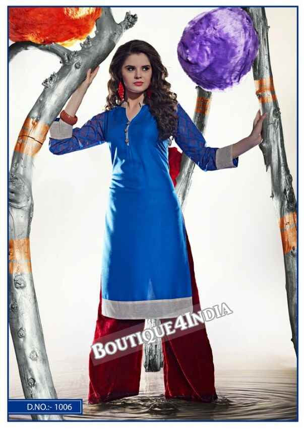 Blue Color Ravishing Rayon Fabric Kurti