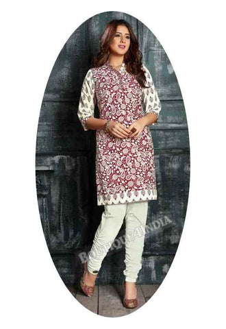 Maroon and white Ravishing Printed Cotton Kurti