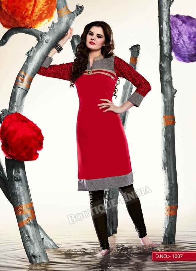 Red Color Ravishing Rayon Fabric Kurti
