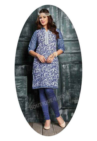 Blue Ravishing Printed Cotton Kurti