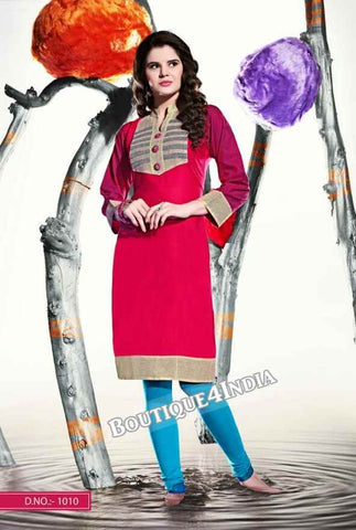 Pink Color Ravishing Rayon Fabric Kurti