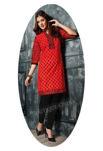 Red Ravishing Printed Cotton Kurti