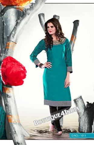 Turqouise Color Ravishing Rayon Fabric Kurti