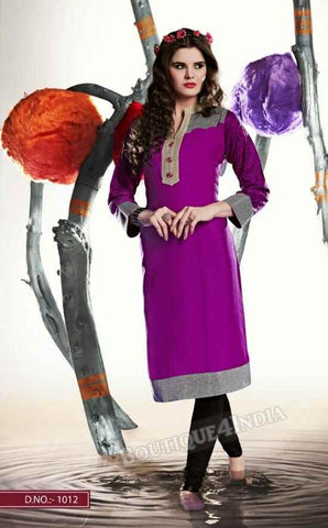 Purple Color Ravishing Rayon Fabric Kurti