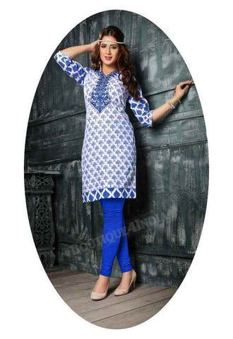 Checkered Blue Ravishing Printed Cotton Kurti