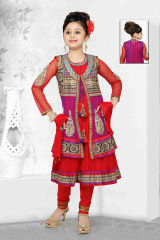Embroidered Jarri, stone and Designer Art Salwar Suit in Red And Purple - Boutique4India Inc.