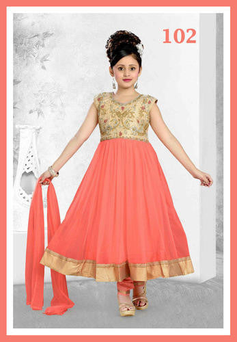 Girl's - Orange / Peach With Golden Salwar Suit - Gilr's Party And Wedding Collection Salwar Suits For Special Occasions - Boutique4India Inc.