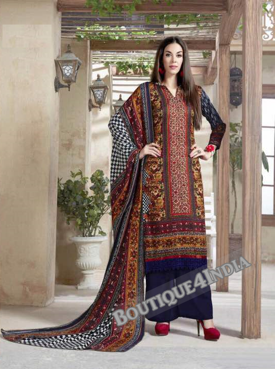 Brown Printed Pashmina Salwar Suit