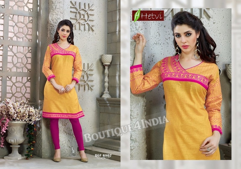 Yellow Cotton 3/4 sleeves Slub Kurti