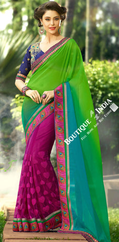 Net and Faux Chiffon Saree in Green, Pink and Blue - Boutique4India Inc.