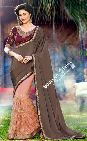 Net Faux Chiffon Saree with Embroidered Net Peach grey and Maroon - Boutique4India Inc.