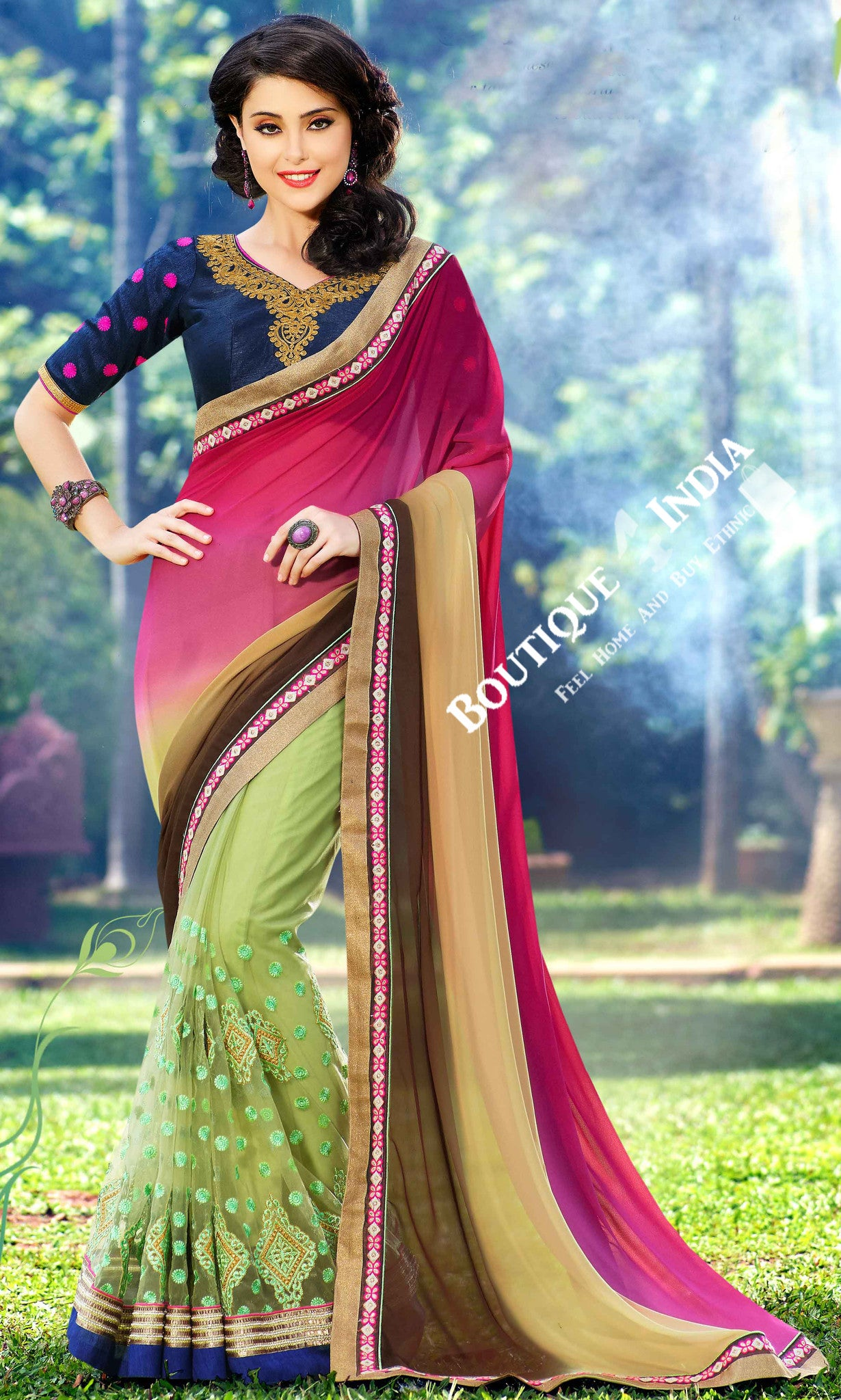 Net Faux Chiffon Saree with Hot Pink, Green and Blue - Boutique4India Inc.