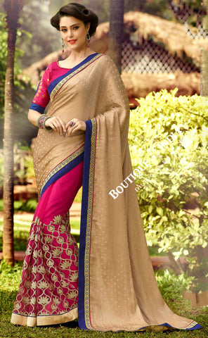 Net Faux Chiffon Saree with Pink, Golden and Blue - Boutique4India Inc.