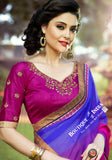 Net Faux Chiffon Saree with Hot Pink, Royal Purple and Golden - Boutique4India Inc.