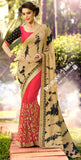 Net Faux Chiffon Saree with Pink, Black Shade and Golden - Boutique4India Inc.