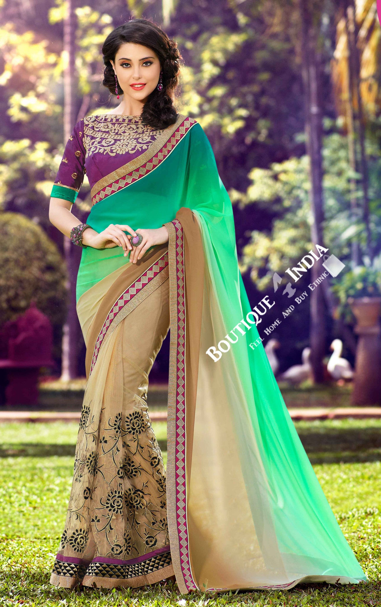 Net Faux Chiffon Saree with Green Golden and Royal Purple - Boutique4India Inc.