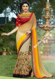 Net Faux Chiffon Saree with Orange Shades, Red and Golden - Boutique4India Inc.