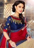 Net Faux Chiffon Saree - Blue Maroon Ruby Red and Golden - Boutique4India Inc.