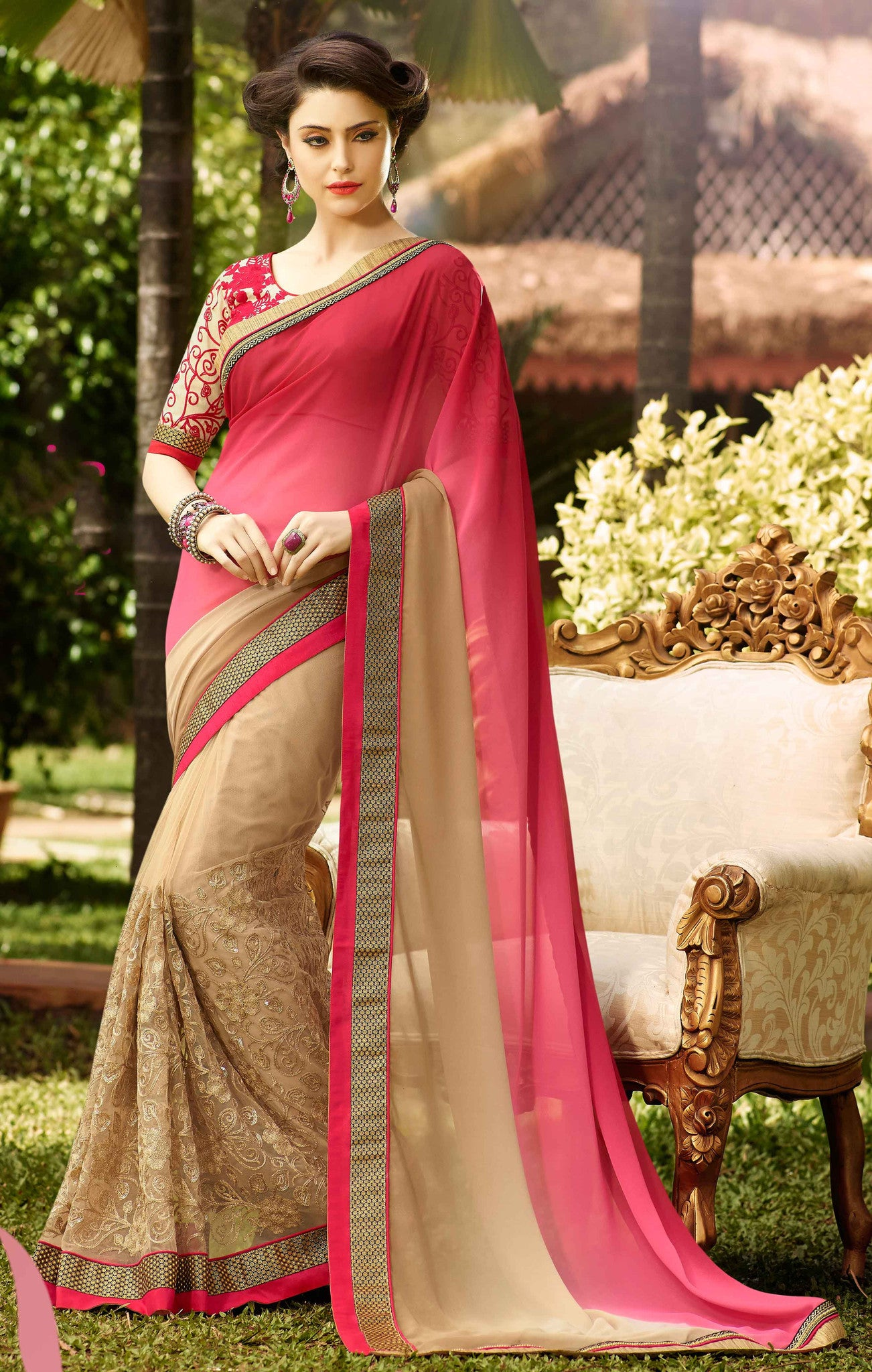 Net Faux Chiffon Saree with Elegant Pink and Golden - Boutique4India Inc.