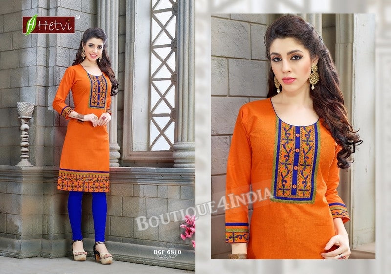 Orange Cotton 3/4 sleeves Slub Kurti