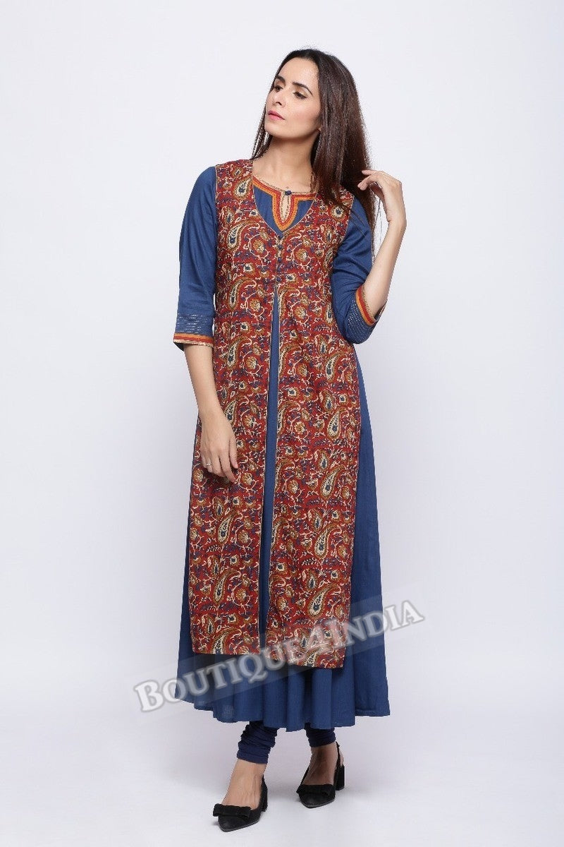 Cotton Kalamkari Printed Double Layer Kurti