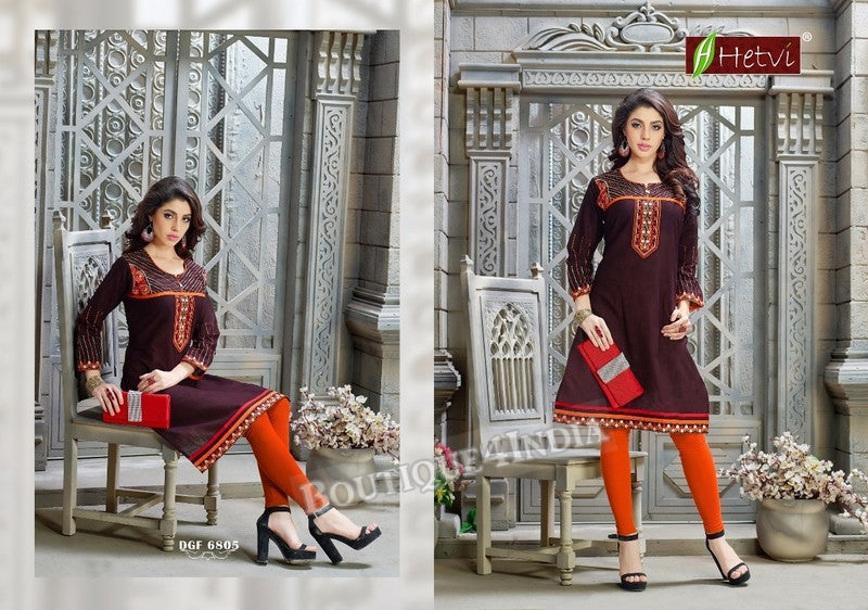 Dark Cherry Cotton 3/4 sleeves Slub Kurti