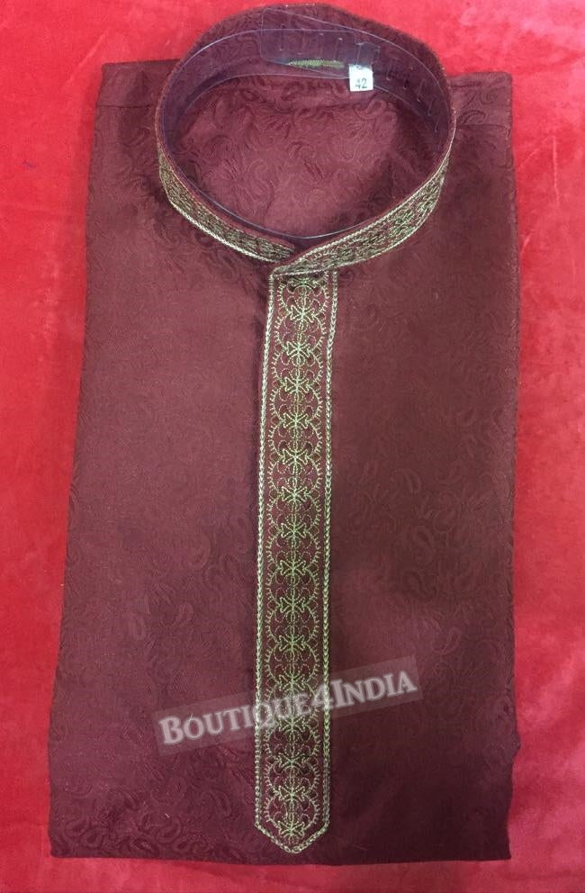 Maroon Silk Cotton Men's Kurta pyjama