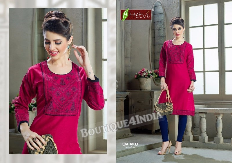 Cherry Cotton 3/4 sleeves Slub Kurti