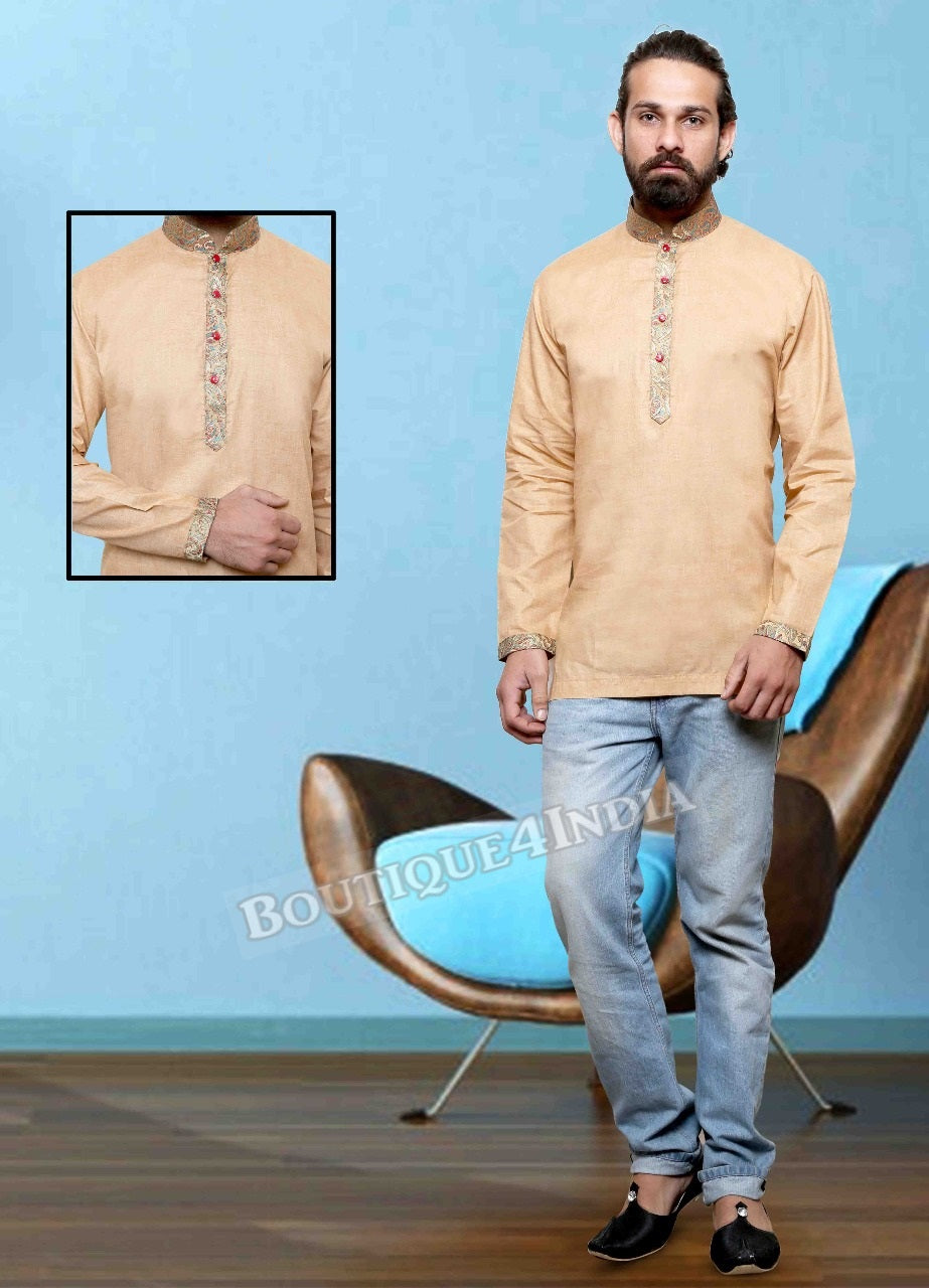 Sandal Cotton Men's Kurta