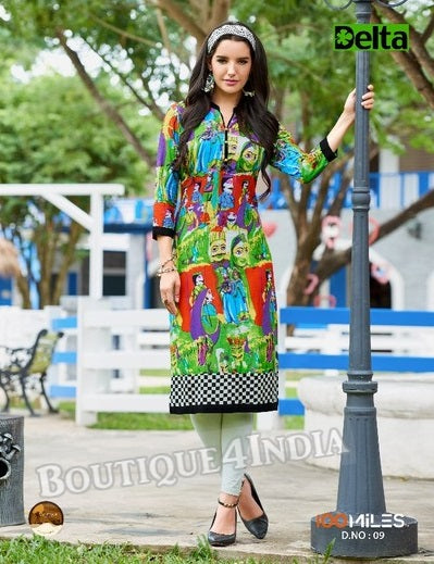 Self Design and printed Cotton Kurti