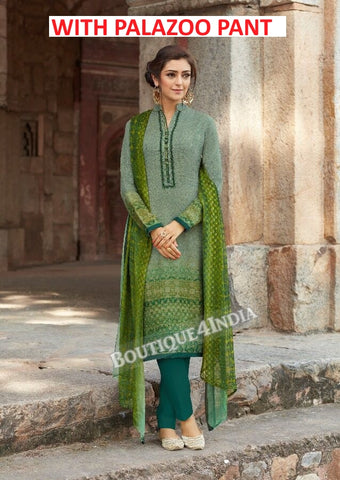 Olive green Printed Pashmina Palazoo Suit