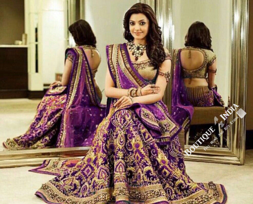 Gorgeous Bridal Lehnga - Purple And Golden  Semi Stitched Bridal Lehnga With Embroidery Peal And Jhumka Work. Stunning Collections For Wedding, Party, Festival, Special Occasion - Semi Stitched, Blouse - Ready to Stitch - Boutique4India Inc.