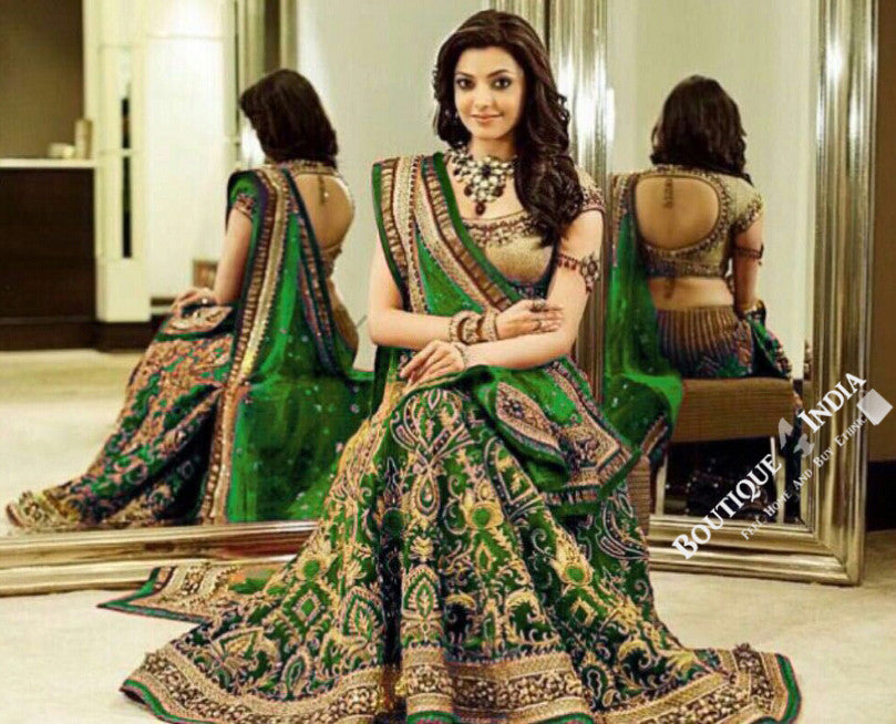 Gorgeous Bridal Lehnga - Green And Golden Semi Stitched Bridal Lehnga With Embroidery Peal And Jhumka Work. Stunning Collections For Wedding, Party, Festival, Special Occasion - Semi Stitched, Blouse - Ready to Stitch - Boutique4India Inc.